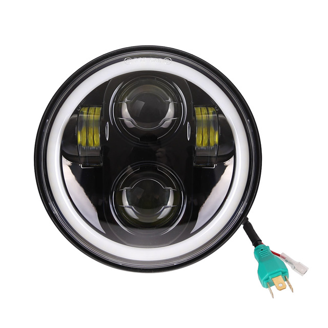 """5 3/4 """"5.75 אינץ אופנוע Moto LED מקרן מלא Halo פנס עבור Dyna Sportster Softail"""