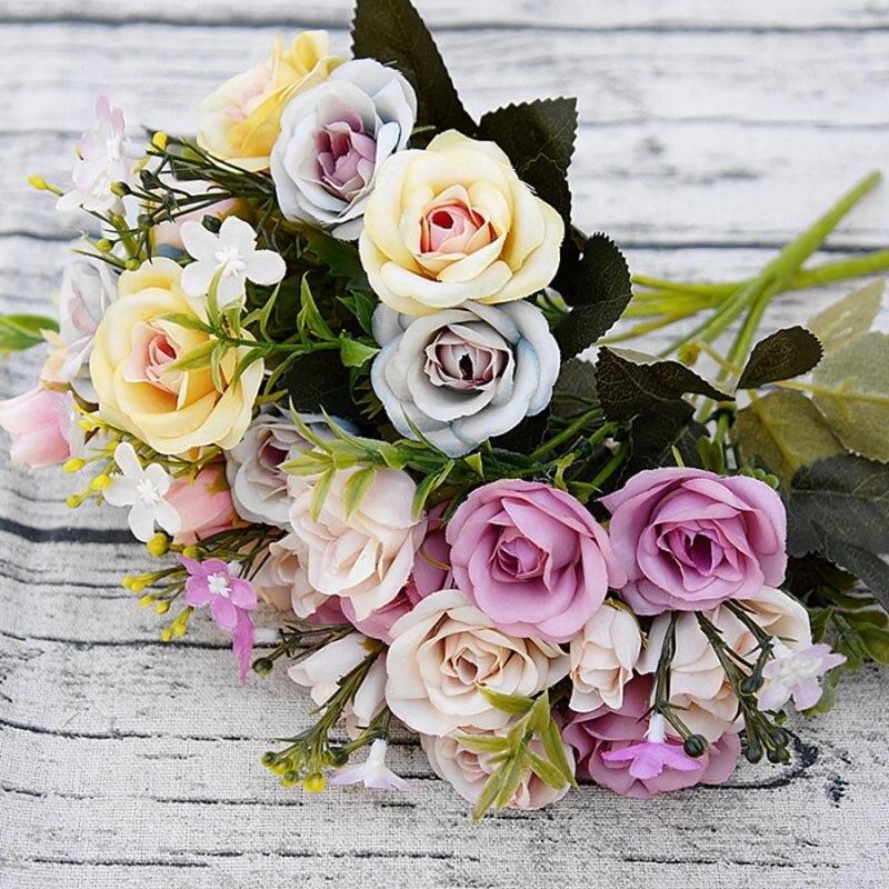 Warna Warni Sutra Buket Bunga Pernikahan Bunga Mawar Buatan Bunga Vivid Daun Palsu Bridal Karangan Bunga Rumah Kamar Tidur Dekorasi Taman Rose Artificial Silk Flowers Weddingfake Leaves Aliexpress