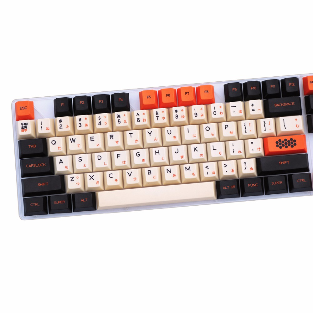 Carbon 125/172 keys PBT keycap Dye-Sublimated Japanese Typeface Cherry MX switch Keycap for Mechanical gaming keyboard