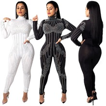 43bd4bcd55 Beaded Embellished Sexy Rompers Womens Jumpsuit Glitter Rhinestones Long  Sleeve Bodycon Overall Casual Party Bodysuit NQ184