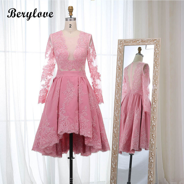 BeryLove Short High Low Pink Homecoming Dresses Long Sleeves Lace  Homecoming Dress 2018 Party Gowns Graduation Dresses Style e6ccfac5b95e