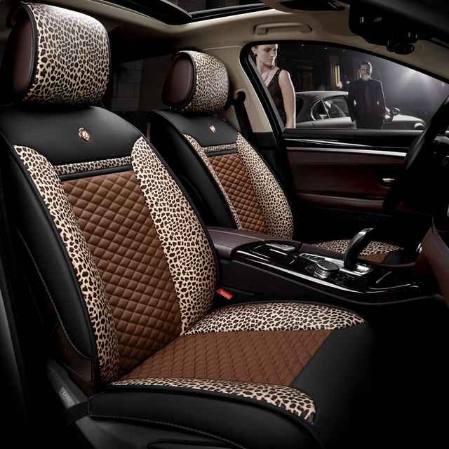 2017 Women Coffee Leopard Car Seat Covers Microfiber Leather Universal Size Auto Protector Automobile