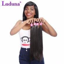 Luduna перуанский прямые волосы пучки 100% человеческих Инструменты для завивки волос-Реми волосы дважды утка ткань природа Цвет 8-28 дюймов 100 г 1 шт.
