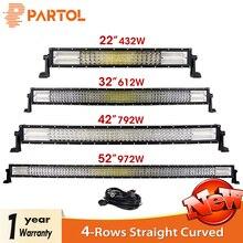 Partol 4-Row LED Light Bar 22″ 32″ 42″ 52″ Straight Curved Offroad LED Work Light Bar For 4×4 4WD Truck Trailer SUV ATV UTV