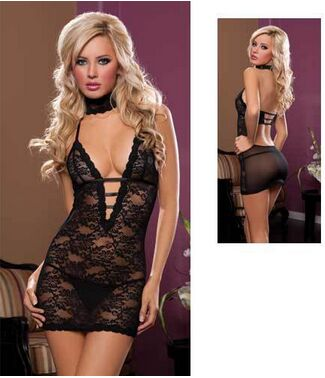 Three Pieces Erotica Lenceria Lace Dress Sexy Intimate Woman Ropa Interior Mujer Sex Temptation Gown Sleepwear
