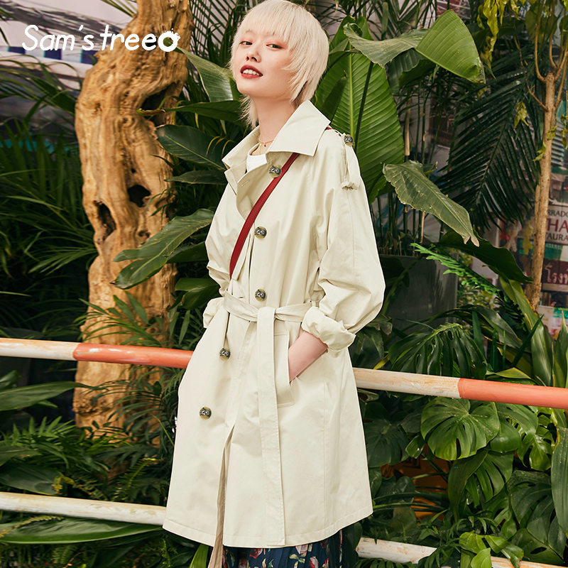 Safari Style Women   Trench   Coat Solid Casual Stylish Turn-down Collar Femme Coats Double-Breasted Ladies   Trench   Coat
