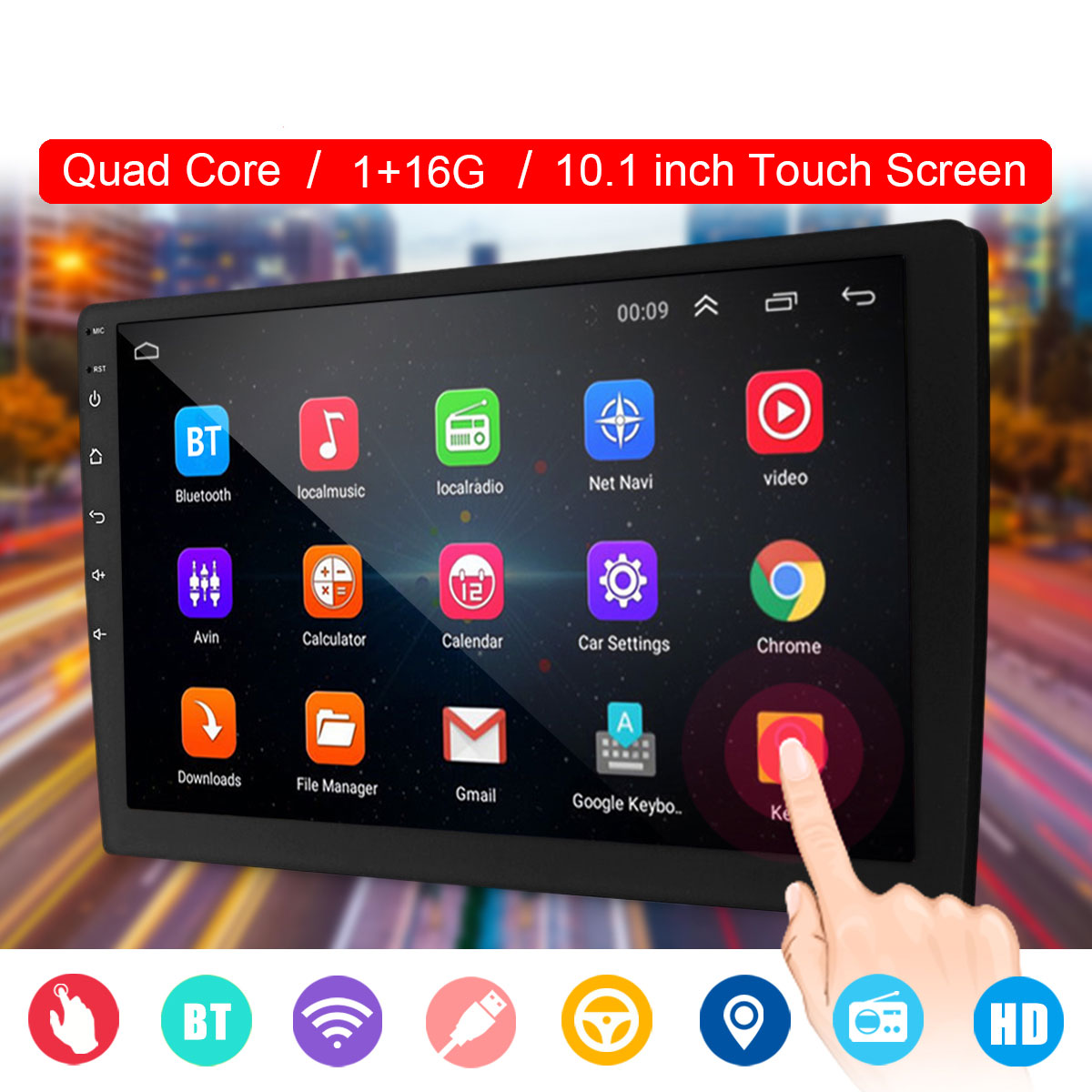 10.1″ 2 DIN Quad Core Car Stereo bluetooth WIFI GPS Nav DAB Touchable Radio Video MP5 Player Car Multimedia Player 1+16G