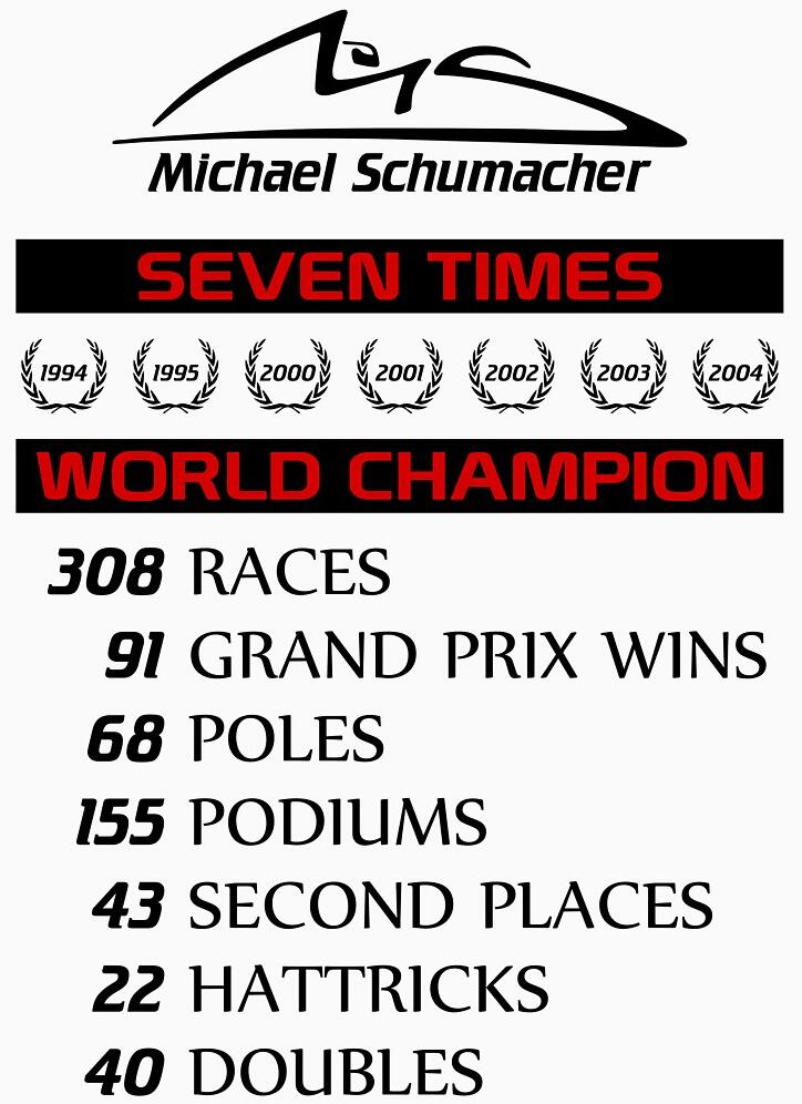 2019 New Fashion Brand Clothing Michael Schumacher Championship Records Racing Legend T Shirt Size S To 3XL in T Shirts from Men 39 s Clothing
