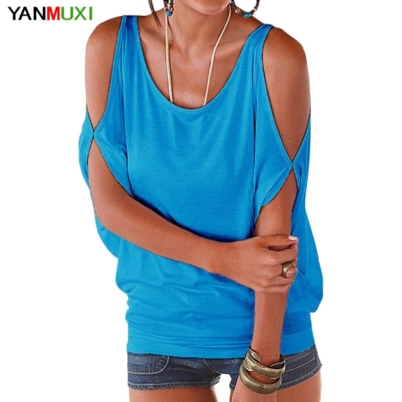 Sexy Off the Shoulder Batwing Sleeve Loose Summer Top 2017 Casual Backless Shirt Solid Women T Shirts Plus Size Blusa