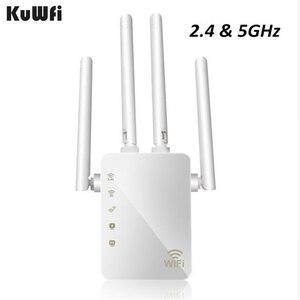 Image 1 - Kuwfi 1200 mbps wifi repetidor com 4 antenas externas, 2 portas ethernet, 2.4 & 5 ghz dupla faixa impulsionador de sinal cobertura completa wi fi