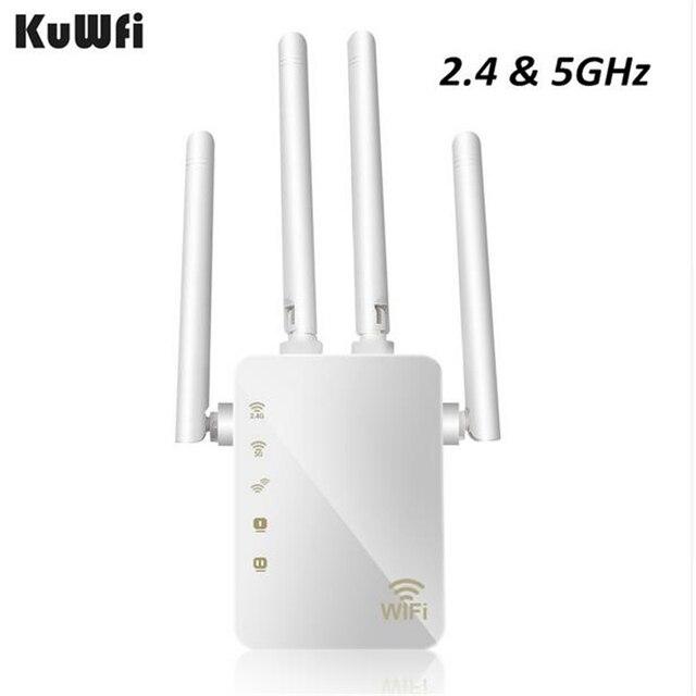 Kuwfi 1200 mbps wifi repetidor com 4 antenas externas, 2 portas ethernet, 2.4 & 5 ghz dupla faixa impulsionador de sinal cobertura completa wi fi