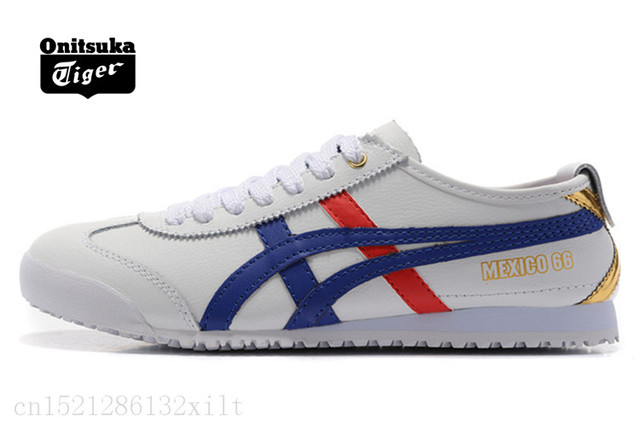 efabe16e4ed6 ONITSUKA TIGER MEXICO 66 White silver Men Women Shoes Leather Rubber  Hard-Wearing Travel Street Low Sneakers Badminton Shoes