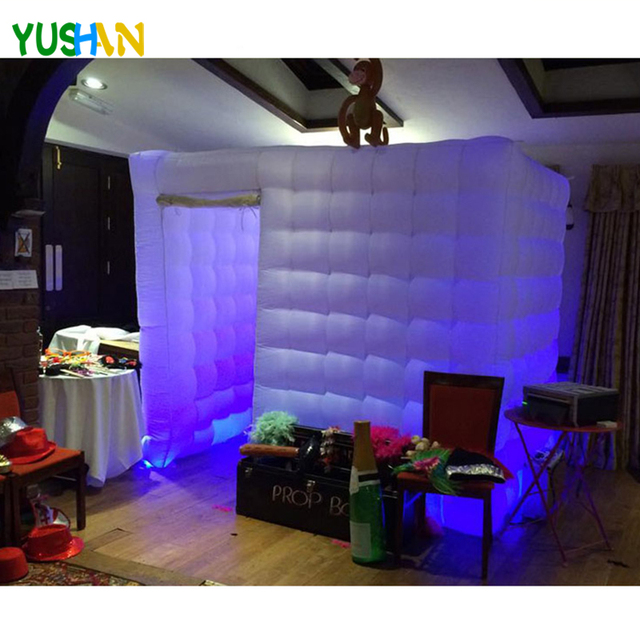 special design beautiful LED rope inflatable photo booth shell