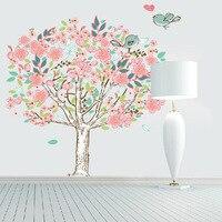 Lindo wise birds tree pegatinas de pared para la decoración de la habitación niños nursery cartoon niños calcomanías pvc animal decoración de la pared diy wallpaper