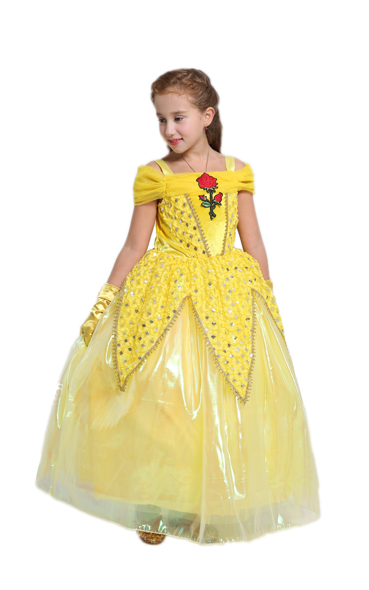 Halloween Cosplay New 2017 The Beauty And The Beast Kids Princess Belle Costume Yellow Long Dress For Girl Halloween Cosplay Princess Belle Costumebelle Costume Aliexpress
