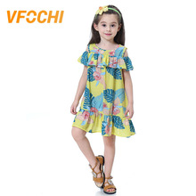 VFOCHI New Girls Dress Cute 2-10Y Kids Clothes Floral Print Knee Length Kids Dresses for Girls Teenager Summer Beach Dress цена