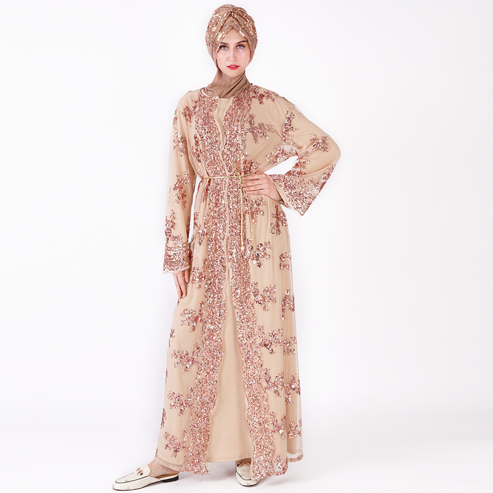 Offre spéciale femmes musulmanes longue jupe Cardigan de luxe Sequin broderie dentelle sans couture à l'extérieur pour Jilbab Abaya dubaï - 4