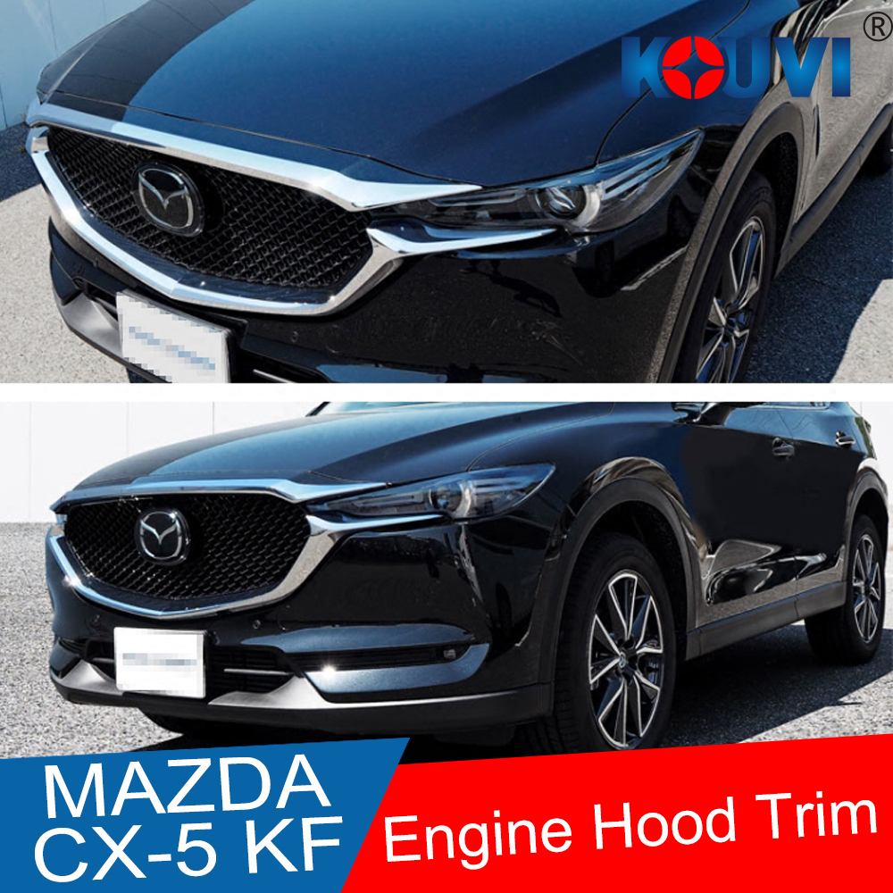 Abs chrome front grille hood engine cover trim car sticker for mazda cx 5 cx5 kf serires 2017 2018 accessories