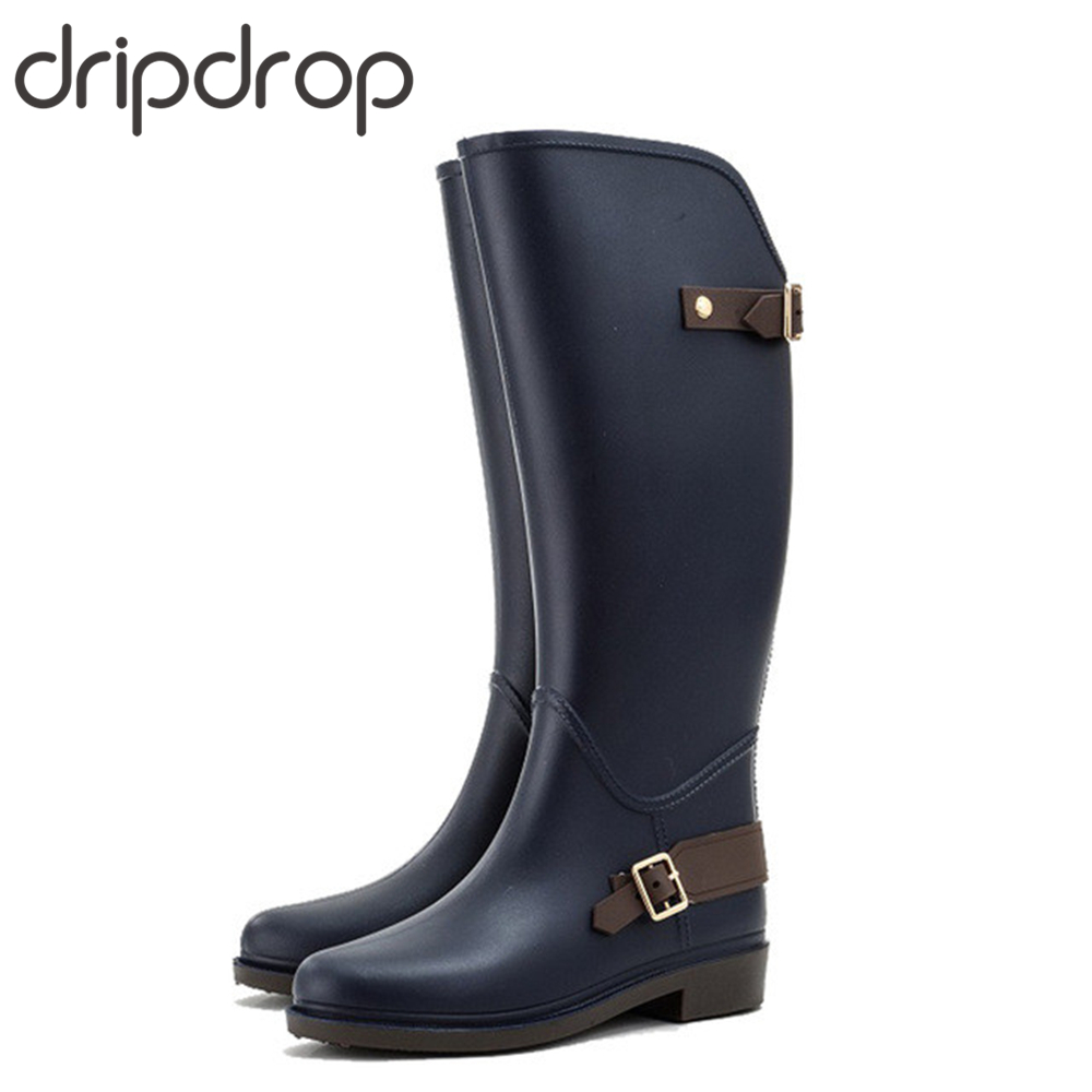 DRIPDROP Autumn Winter Rain Boots for Women Waterproof Knee High Riding Boots Ladies Wellies with Buckles