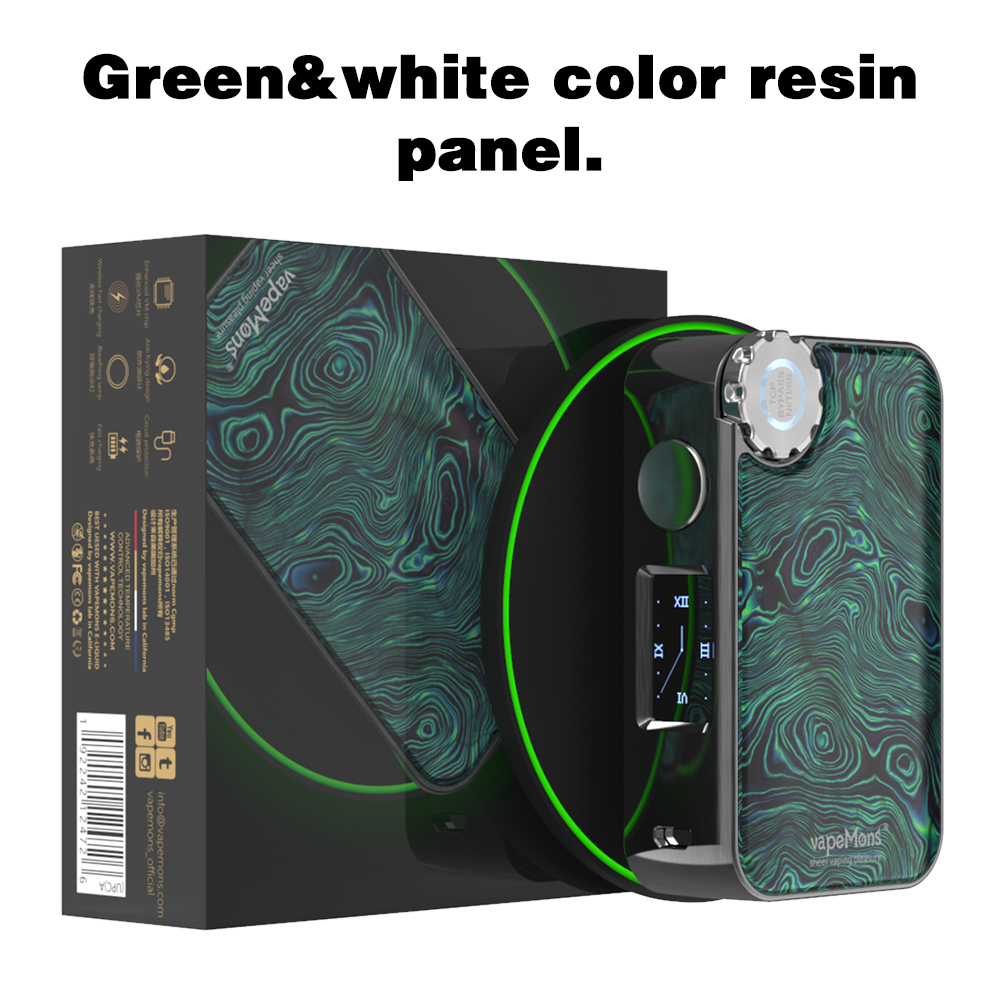 Box Mod Vapemons Gearbox 222W TC Wireless Charge OLED Screen 510 Thread Resin Panel 18650 Battery Electronic Cigarette Vape Mod