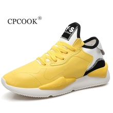 CPCOOK Summer New Red Men Casual Shoes Men Sneakers Yellow Fashion Trainers For Adult Casual Shoe Tenis Walking Footwear Basket