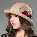 NOVOS outono e Inverno Moda arco Mulheres Boina Chapéu de Lã para as mulheres cap fêmea cap cúpula informal nua # flores delicadas chapéu