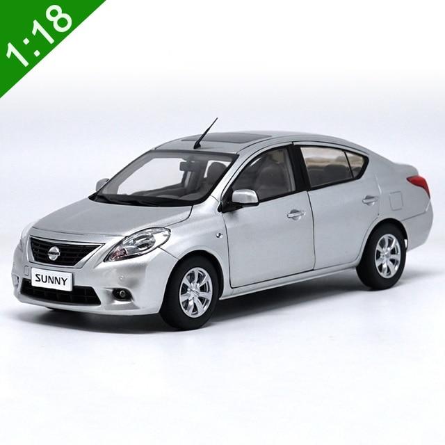 1:18 Diecast Car Model Nissan Sunny Almera Silver Sedan Alloy Toy Car For  Kids