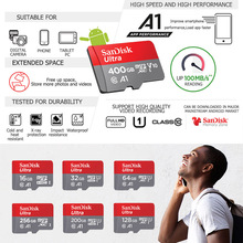 Sandisk 16GB 32GB micro sd card 64GB 128GB cartao de memoria 200GB 256GB memory card class10 400GB tf card with adapter