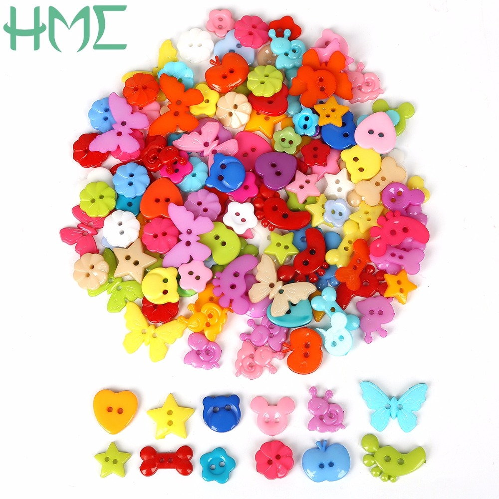 15mm Heart Shape Colors Color Mixed Shaped Buttons Resin 100pcs Sewing