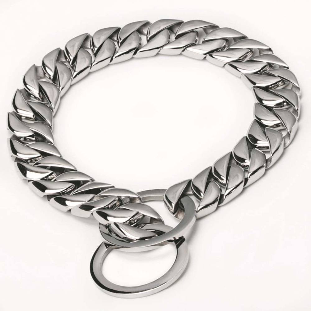 15MM New Arrive 316L Stainless Steel Silver Polished Dogs Cuban Curb Chain Necklace Collar Choker Slip Training Pet Link 12 32