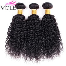 VIOLET Brazilian Afro Kinky Curly Hair Bundles 100% Non Remy Human weave Nature Color 8-26 Inches