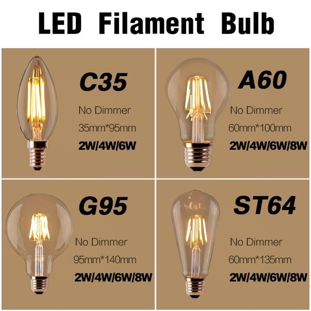 LED Filament Bulb E27 Retro Edison Lamp 220V E14 Vintage Candle Light Globe Chandelier Lighting COB Home Decor DIMMABLE