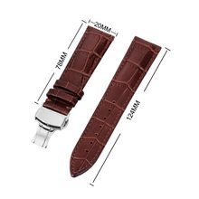 Hot Selling 18-24mm Women Men Genuine Leather Watch Band Strap Butterfly Pattern Deployant Clasp Buckle perfect for Timex Casio(China)