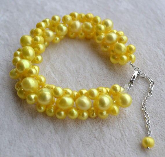 Le plus récent Bracelet de perles torsadées, Bracelet de perles d'eau douce de couleur jaune ronde de pomme de terre de 7 pouces 6-9mm