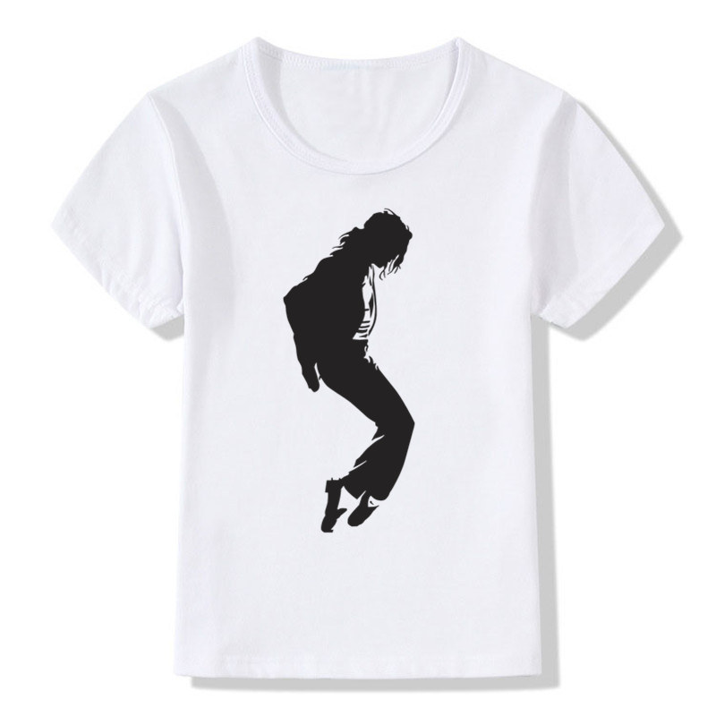 Boy and Girl Print Produced To Commemorate Michael Jackson T shirt Children Short Sleeve T shirt Kids Tops Tee Baby Clothes rose print marled tee