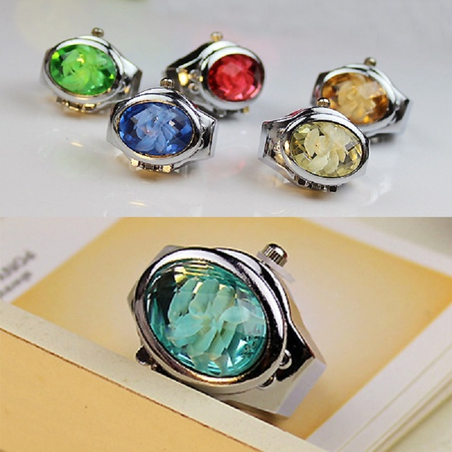 Fashion Women Ring Watch Elliptical Stereo Flower Ladies Clamshell Watches Adjus