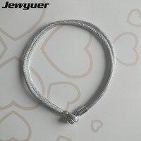 2017 Nieuwe herfst Grey Stof Koord Zilveren Sluiting Starter Armband Voor Bedels en Kralen 925 Sterling Zilver clip armbanden BR065