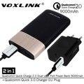[Qualcomm Certificado] 2en1 VOXLINK Carga Rápida 3.0 18 W USB Cargador de Viaje + 2.0 Dual USB 9000 mAh Banco de la Energía de Carga Rápida w/cable