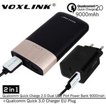 [ Qualcomm certificado ] VOXLINK 2en1 carga rápida 3.0 18 W USB cargador de viaje rápida 2.0 Dual USB 9000 mAh banco de potencia W / cable