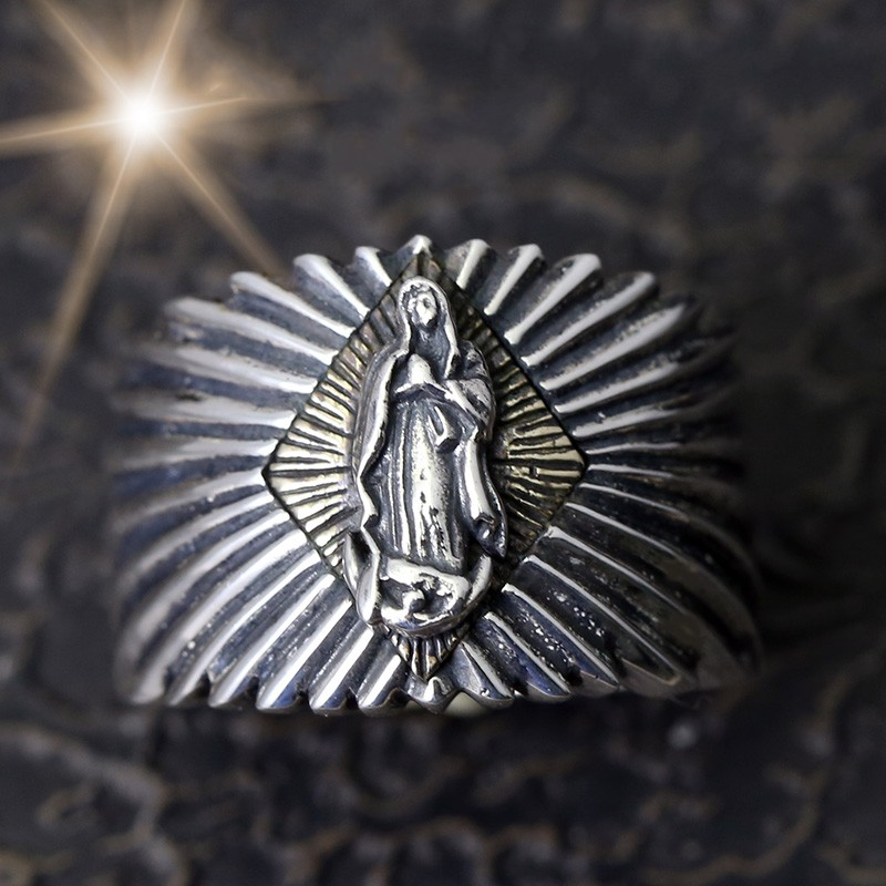100% 925 solid silver Madonna ray sterling silver ring vintage Thai silver mens personality ring100% 925 solid silver Madonna ray sterling silver ring vintage Thai silver mens personality ring
