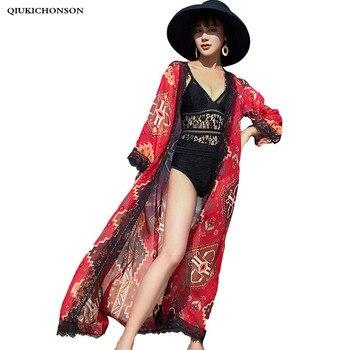 Vintage Ethnic Print Bohemian Tops Ladies Summer Seven Sleeve Lace Hem Patchwork Maxi Long Chiffon Cardigans Women Beach Kimono allover florals print fringe hem kimono