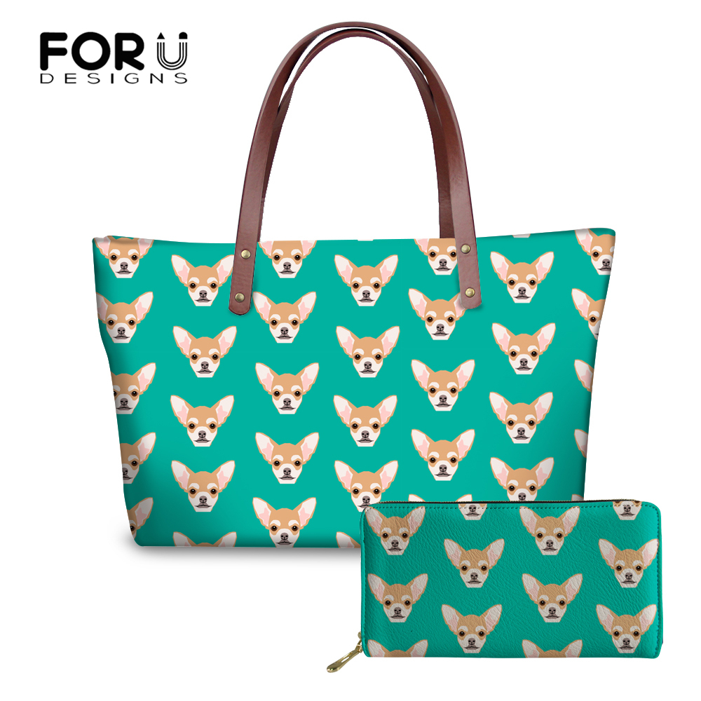 08f4dba8b5 FORUDESIGNS Women Shoulder Bags Chihuahua Printed Top-handle Female Handbags  Girls Handbag Bag Cute Quality