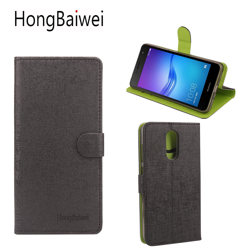 HongBaiwei Luxury Leather Cases for Huawei Enjoy 6 Flip Hit Color Stand Wallet Phone Bag with Card Slot Holder Case Cover