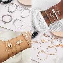 Bohemian Charm Bracelets Set For Women 2019 Vintage adjustable Pineapple Fruit Geometric Turtle Heart Beaded Bracelets Jewelry faux pearl charm beaded bracelets set