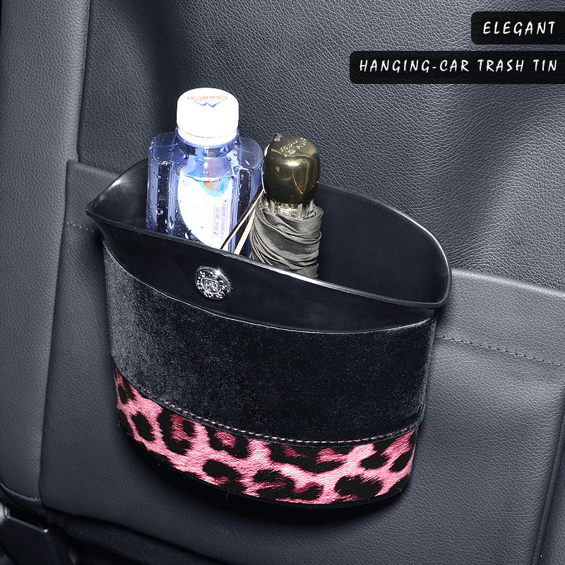 E FOUR Fashion Car Trash Tin ABS Leather Leopard Print Elegant Car Accessories Rubbish Can Waterproof Umbrella Holder Trash Tins in Car Trash from Automobiles Motorcycles