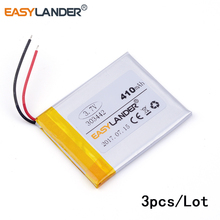3pcs /Lot 3.7v lithium Li ion polymer rechargeable battery 303442 410mAh cells For Mp3 MP4 MP5 GPS PSP mobile bluetooth