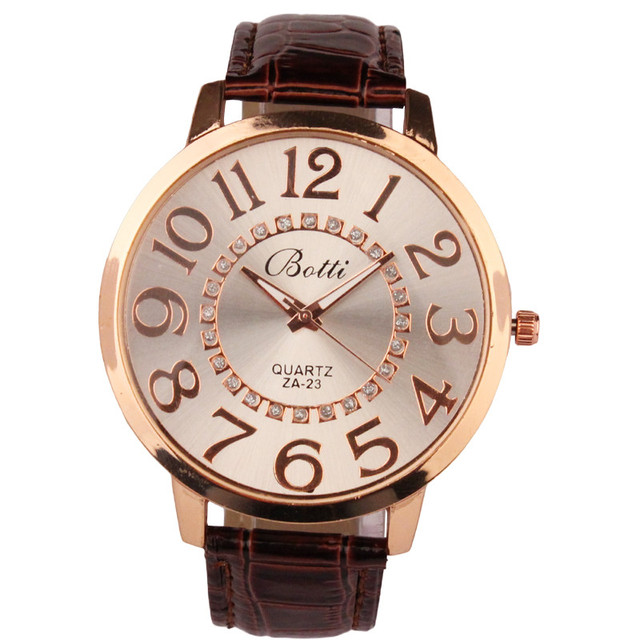 Luxury Brand Women Watch Leather Brand Fashion Numerals Golden Dial Leather Anal