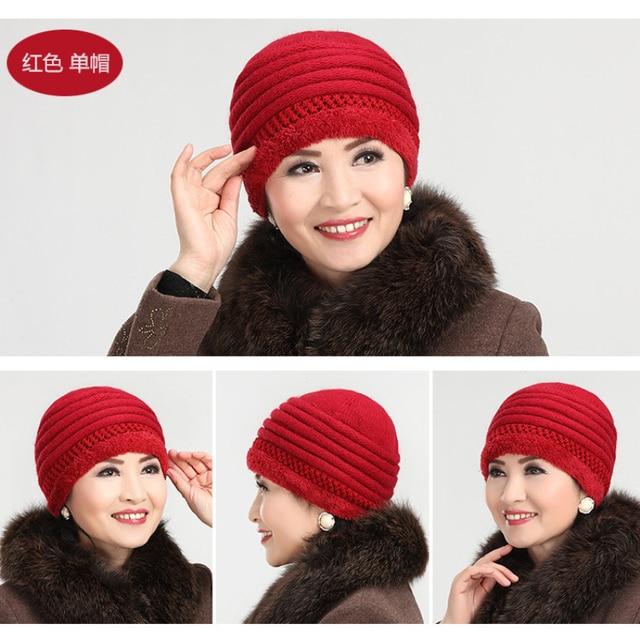 New Winter Hat Elder Women Winter Rabbit Fur Wool Warm Mother Middle-aged Lady Velvet Knitted Beanie Hats HT247