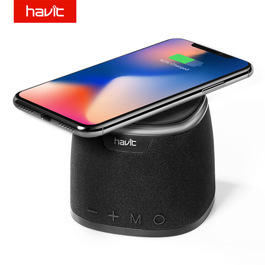 купить HAVIT Bluetooth Speaker Wireless Charger Bass Speaker With Qi Charging Pad Function for iPhone X 8/8P Samsung Xiaomi Nokia HV-M1 по цене 2817.14 рублей