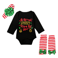 2017 Christmas Baby Girl Clothes Set Funny Sparkly Bodysuit Knee Pads Flower Headband 3pcs Striped Outfits
